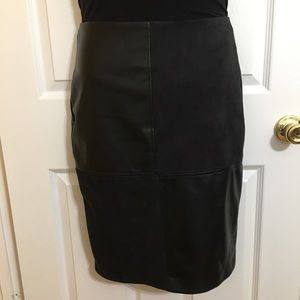 IVANKA TRUMP Faux Leather & Suede Pencil Skirt